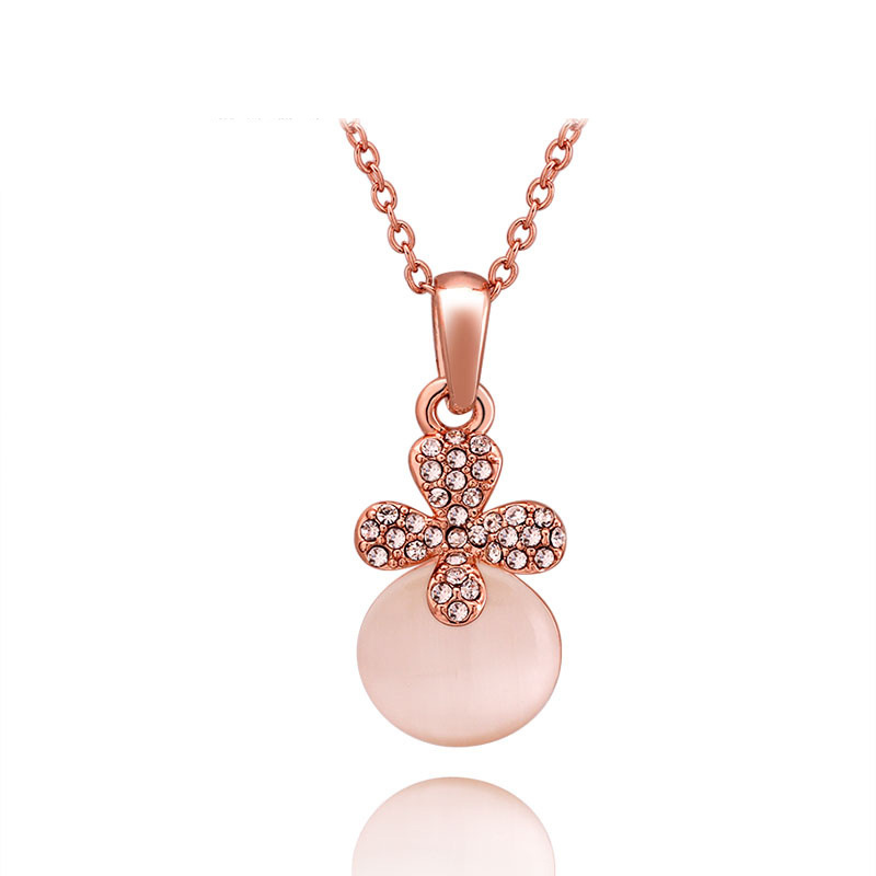 High Quality Diamonds Necklace Rose Gold plated Fashion Pendant for Women LKN18KRGPN716