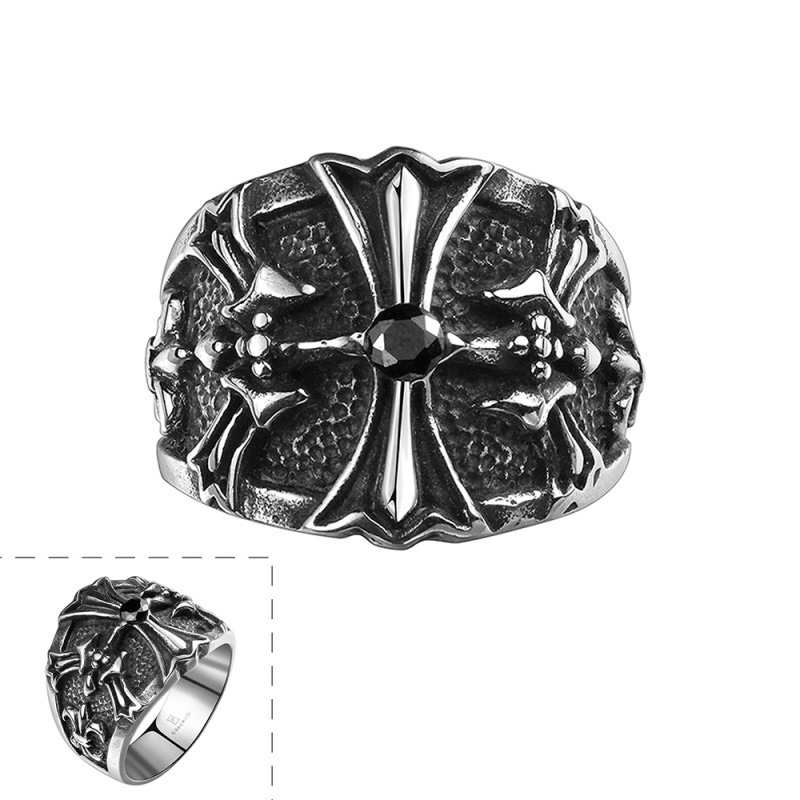 Cross 316L Stainless Steel Titanium Punk Ring Retro Easter Halloween Black Zircon for Men