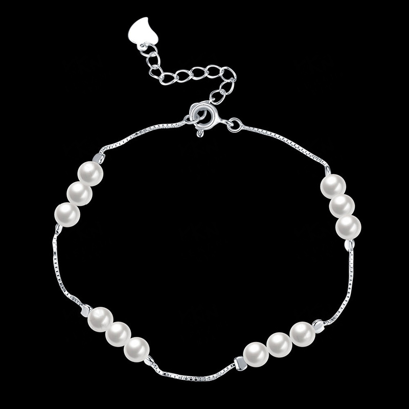 New Hot Pure 925 Sterling Silver Jewelry Simulated Pearl Bracelets for Women Lady Luxury Jewelry Gifts SVH012
