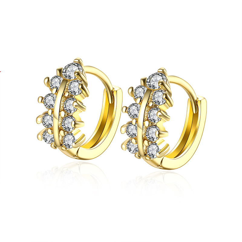 Top-selling Gold Plated Elegant Earring White Cubic Zirconia Color Leaf Design Romantic Clip Earrings for Young Lady