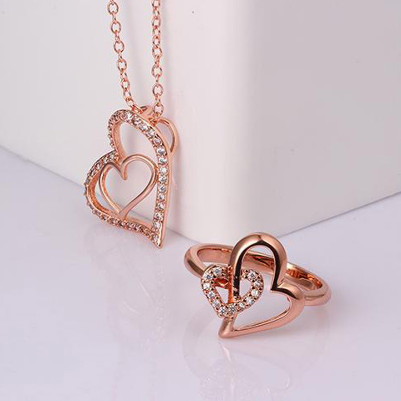New Heart Shaped Jewelry Suite with Necklace Beautiful Ring for Women KZCS022
