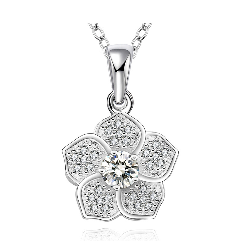 Trendy Pendant Suspension Fashion Jewelry Flowers Natural Stone Necklace Silver plating Pendant LKNSPCN568