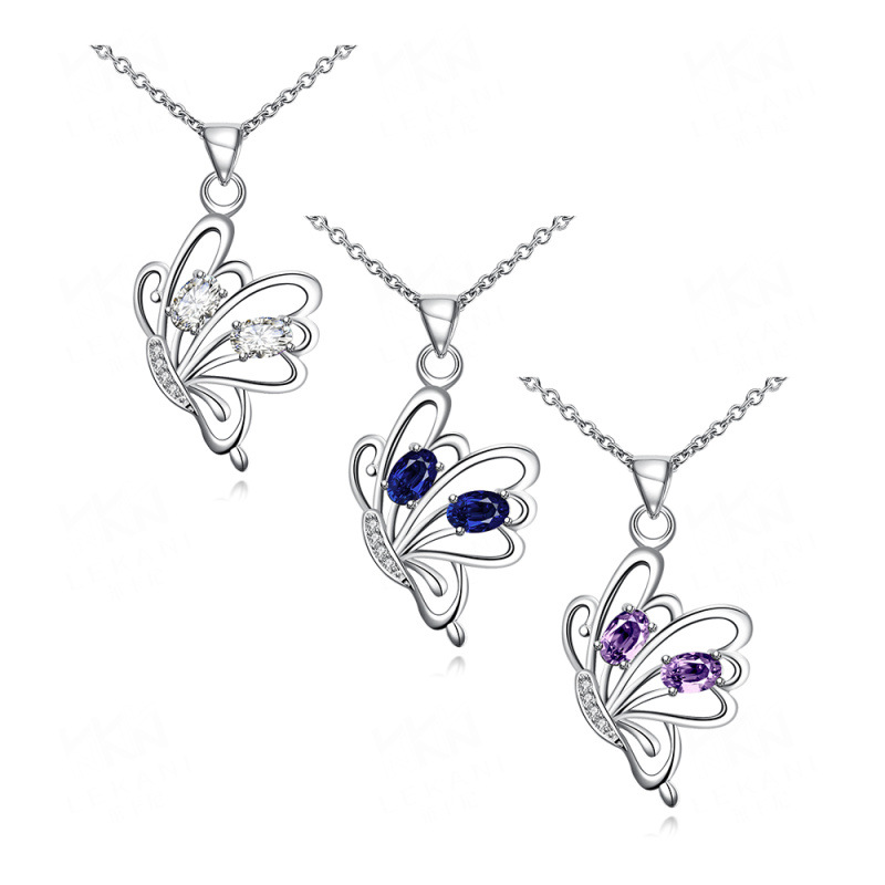 Fashion Necklace Blue/Purple/White Cubic Zircon Diamond Butterfly Silver Plated Pendant Jewelry SPN079