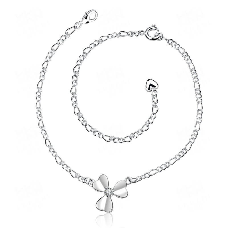 Lucky Clover Silver Plated Anklets Foot Jewelry Cubic Zirconia Anklet Bracelet for Women SPA032