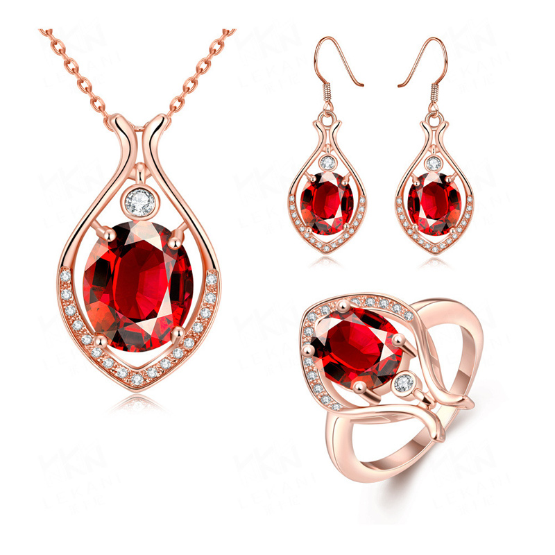 New Design Cubic Zircon Diamond Water Drop Yellow/Rose/White Gold Plated Necklace & Ring & Earrings Wedding Jewelry Sets