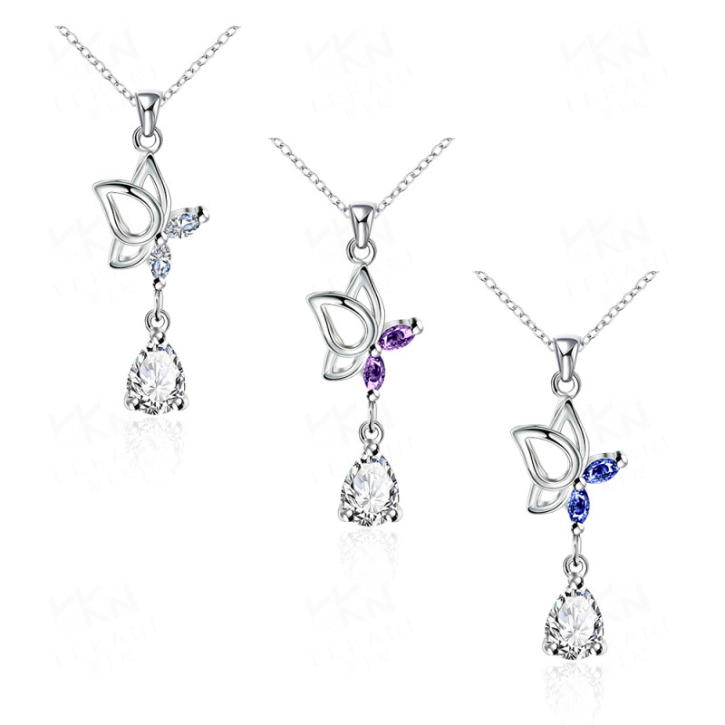 Fashion Necklace Cute Butterfly Hanging Cubic Zircon Water Drop Pendant Silver Plated Necklaces for Women SPN088