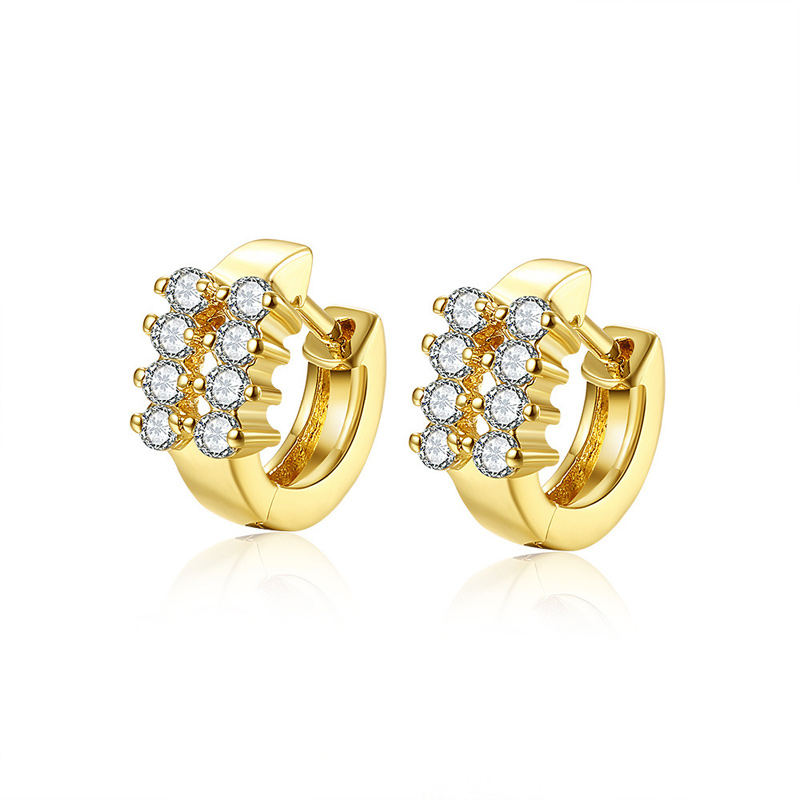 High Quality Yellow Gold plated Diamond Clip Earrings Wedding Gift for Woman Fashion Jewelry AKE148
