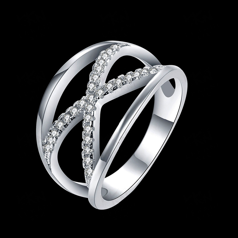 Vintage Cross X Shape Rings for Women Zirconia Micro Paved 3 Layers Silver Plated Jewelery Female Christmas Gifts SPCR834