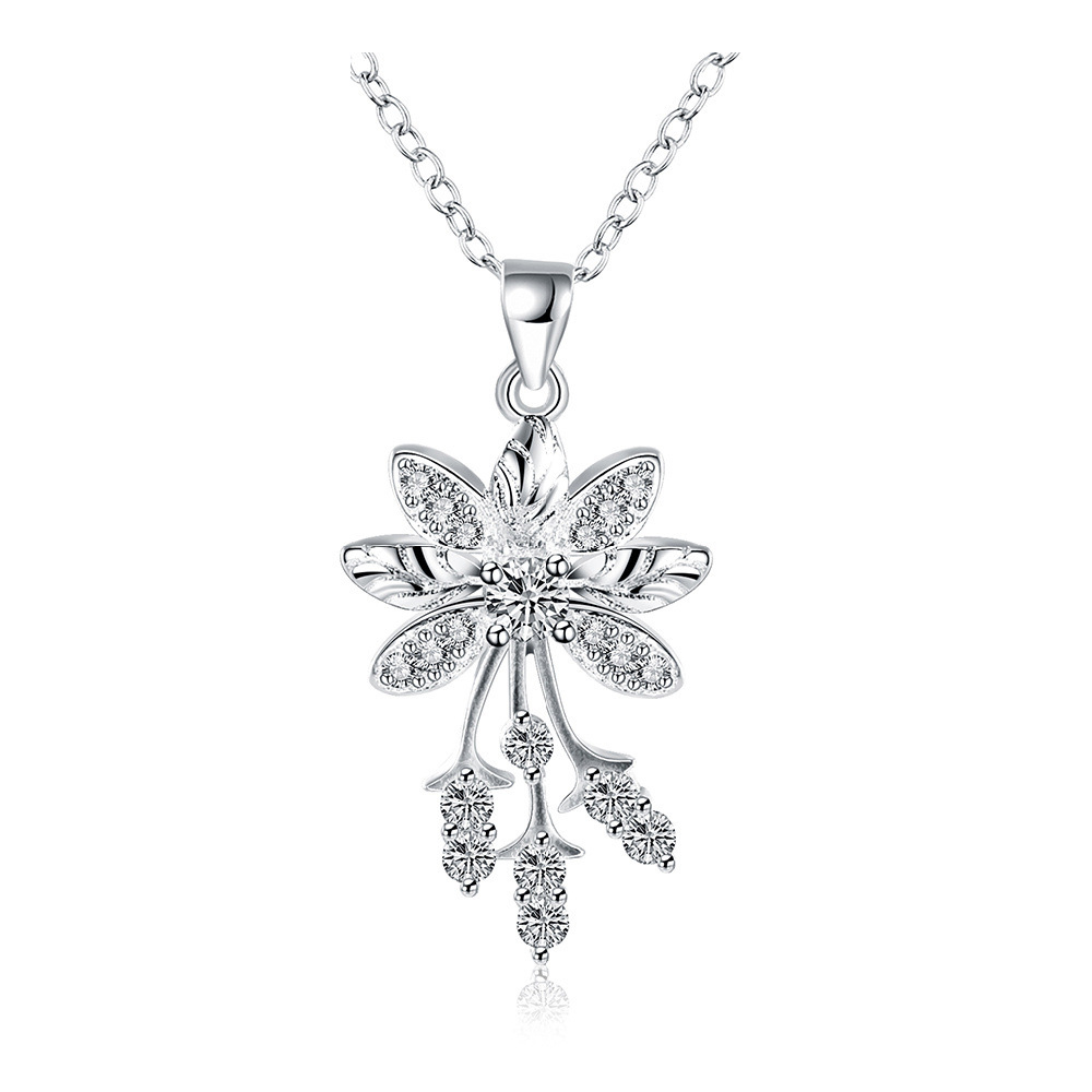 New Fashion Silver Jewelry Silver Plated Cubic Zirconia Flower Pendant Necklace For Women SPCN852