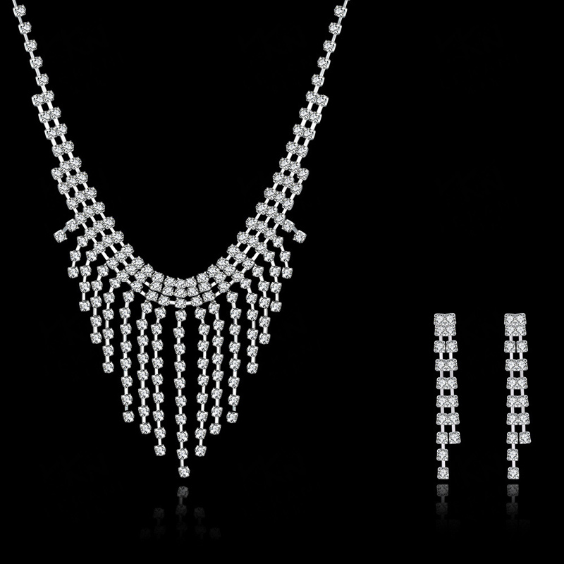 Hot Sale Crystal 925 Sterling Silver Sets Fine Fashion Wedding Necklace and Earring Nigerian Jewelry Set for Women CDS030