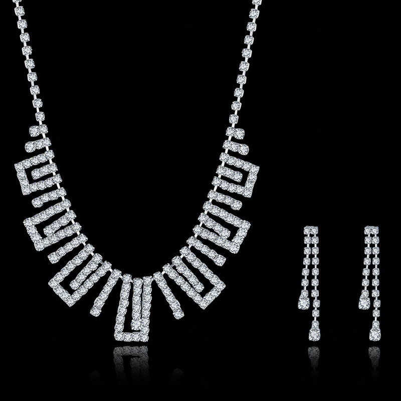 The New Fashion Wedding Jewelry Set Sapphire Jewelry Necklace & Earrings Suit CDS022