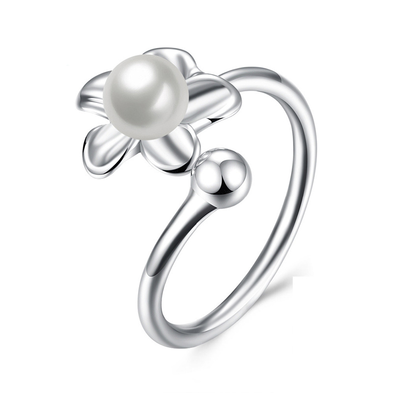 Adjustable Crystal Pearl Blooms Rings For Women New Fashion Silver 925 Jewelry Love Silver Ring SVR081