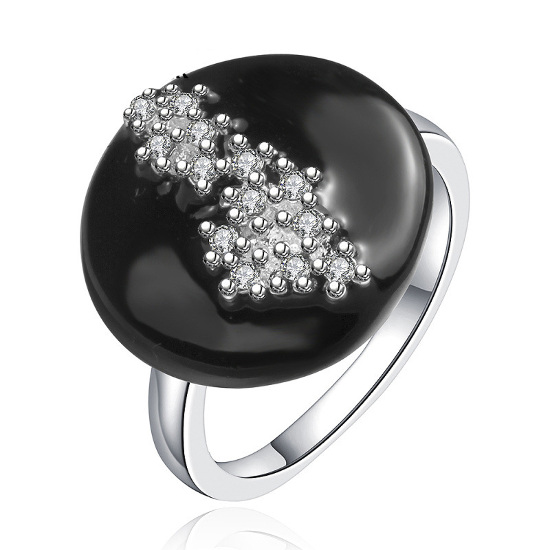 Fashion 925 Sterling Silver Ring Jewelry Silver Black Circle Surface Ring for Women SPCR661