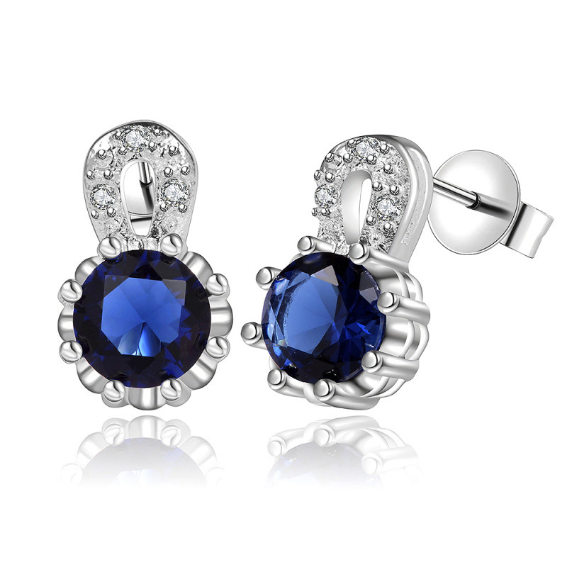 2 Colors 925 Sterling Silver Jewelry Stud Earrings for Women Cubic Zirconia Silver Earring E565