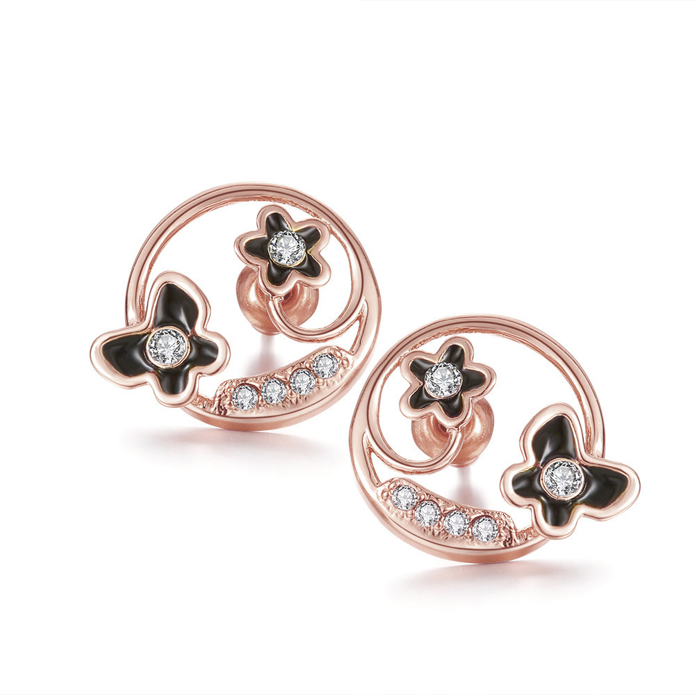 Ear Stud for Women Party Classic Butterfly&Flower in Round with Cubic Zirconia Yellow/Rose/White Gold Plated Earrings Jewellery