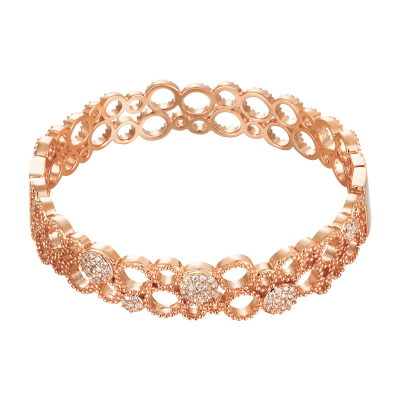 Circle Links with Crystal Bracelet Yellow Gold/Rose Gold Plated Bangle Cuff Love Bracelets & Bangles For Women KZCZ015