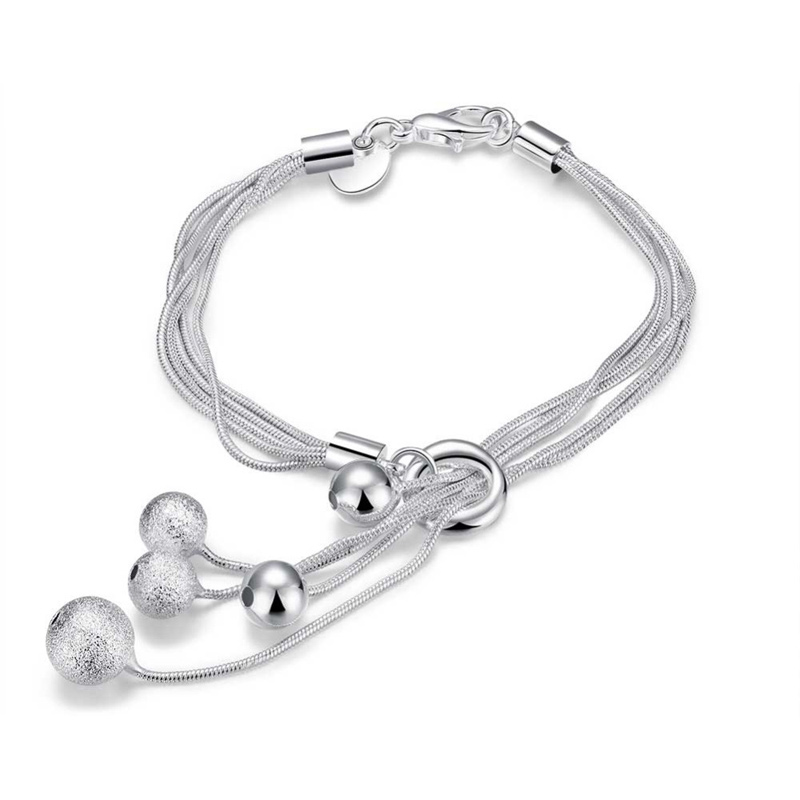 Fashion 925 Sterling Silver Jewelry Ball Charm Bracelets&Bangle Jewelry CH243
