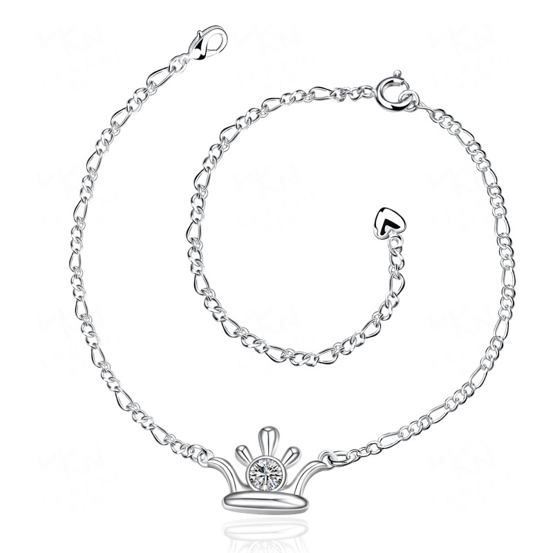 Lucky Silver Plated Foot Jewelry Cubic Zirconia Anklet Bracelet