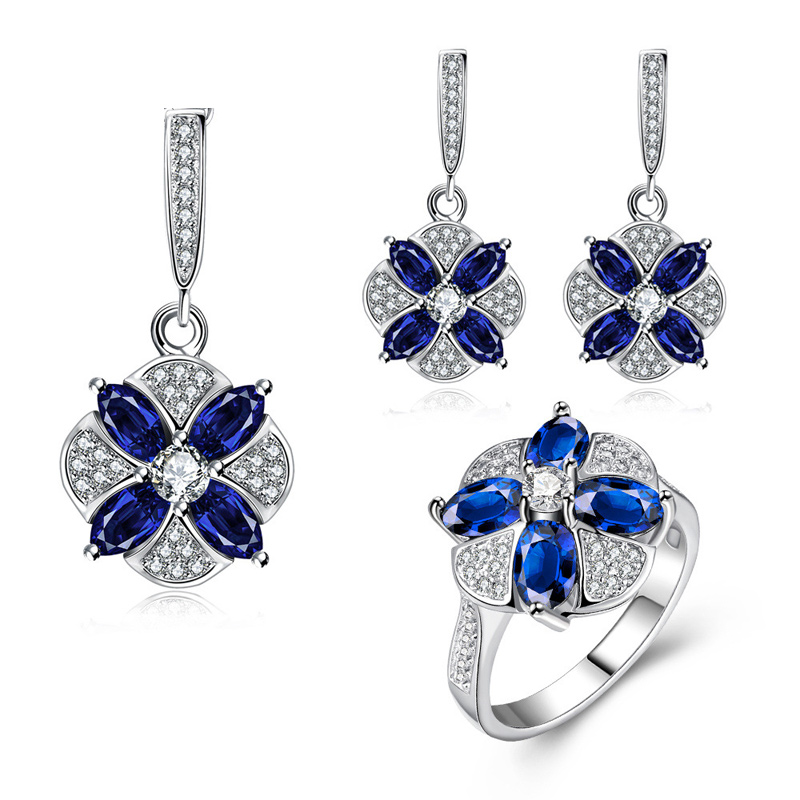 Simple Design Platinum Plated with Flower Shaped Inlaid 4 Blue Crystals Jewelry Necklace /Earrings /Ring for Party