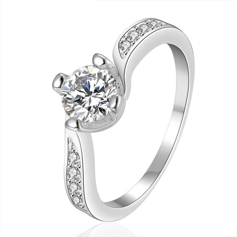 Silver Plated Wedding Rings For Women Classic Simulated Diamond Jewelry Engagement CZ Ring Accessories LKNSPCR148