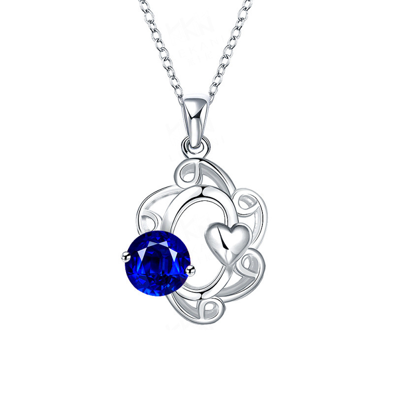 4 Colors Stone Cool Design Silver-Plated Hollow Out Flower with Heart and Crystal Pendant Necklaces Jewelry for Women Party
