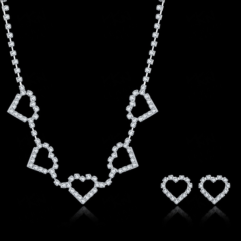 LOVE Soulmate 925 Sterling Silver Jewelry Set Wedding Crystal Neckalce Pendant Earring for Women CDS034