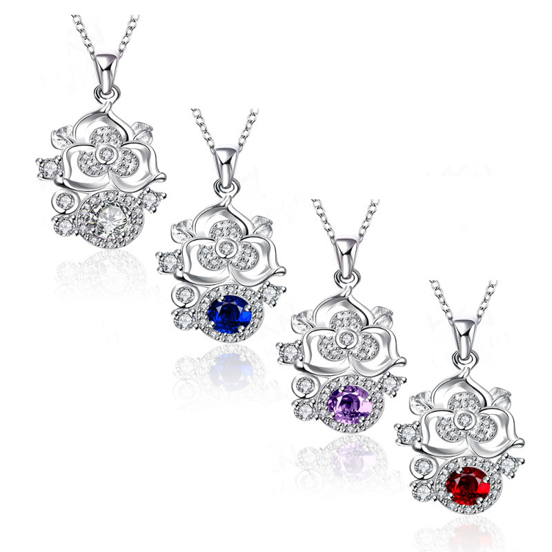 Silver Pendants Necklaces New Fashion Silver Plated Pendant Necklace Fashion Trendy Rose Crystal Jewelry for Women