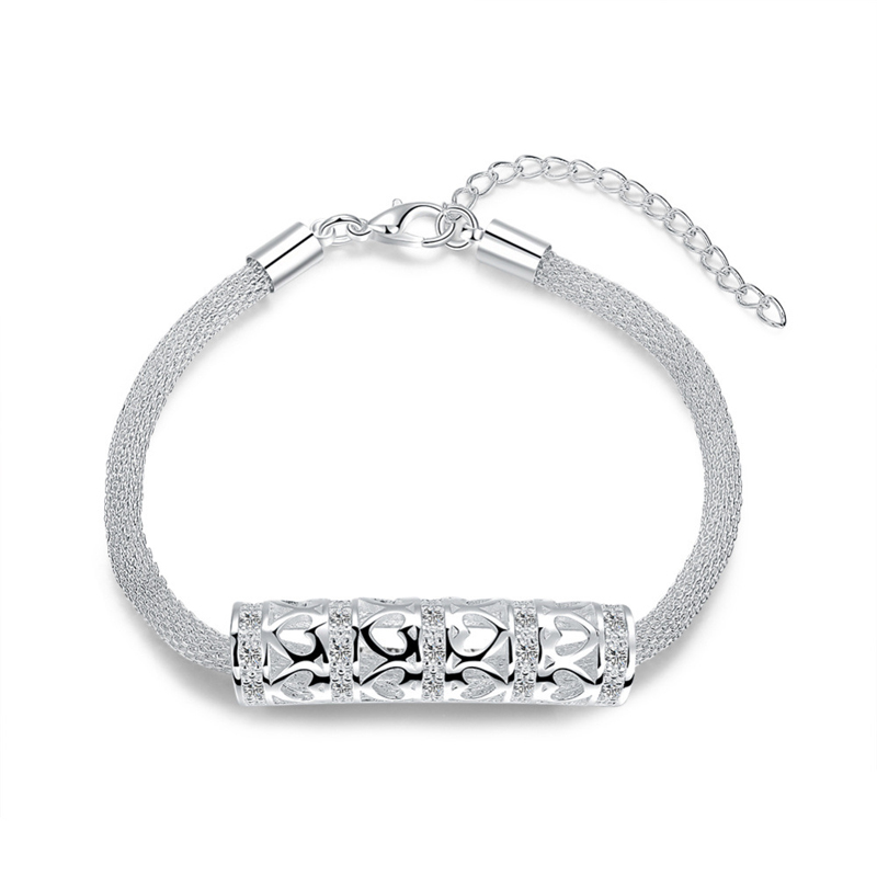 925 Jewelry Silver plated Bracelet 925 Jewelry Silver plated Fashion Jewelry Web Ladder Bracelet