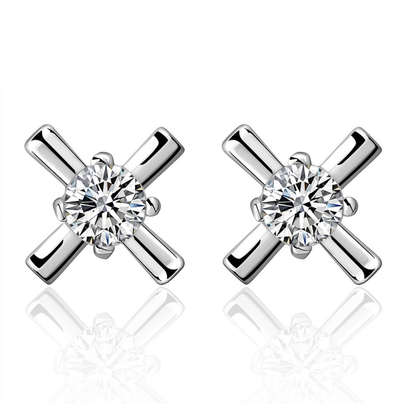 Top Fashion Cross Earrings Silver Plated with Cubic Zirconia Cross Wedding Stud Earrings Jewelry for Women CE587