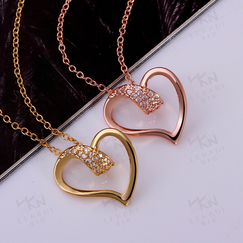 Fashion Yellow Gold / Rose Gold Plated Pendant Necklace Heart Shaped Pave Setting Princess Cut CZ Diamond Necklaces for Women KZ