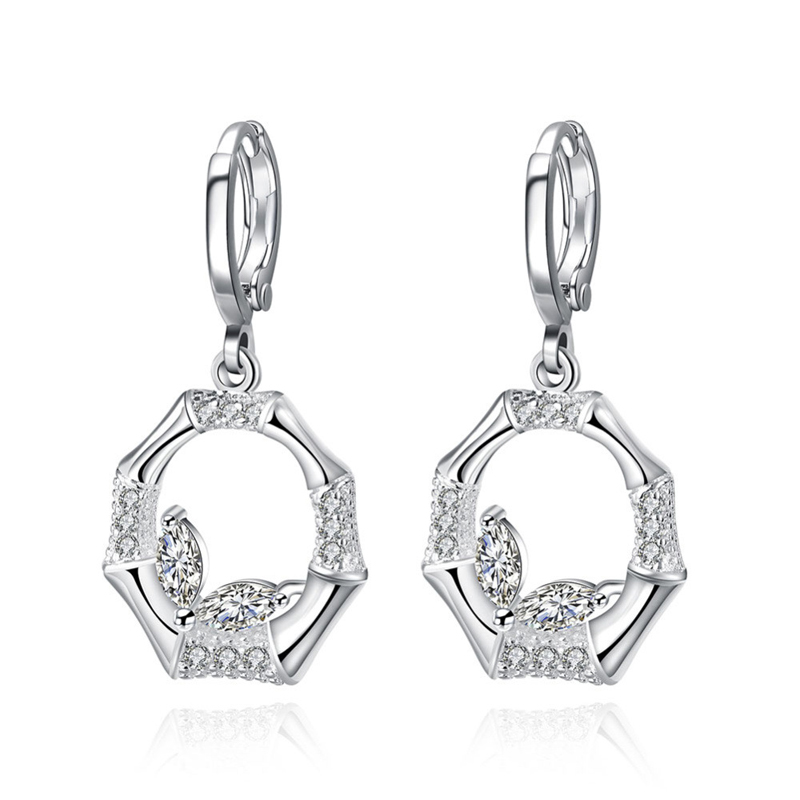 Party Earrings Bamboo Circle with White Crystal 925 Sterling Silver plated Earrings for Women CE745