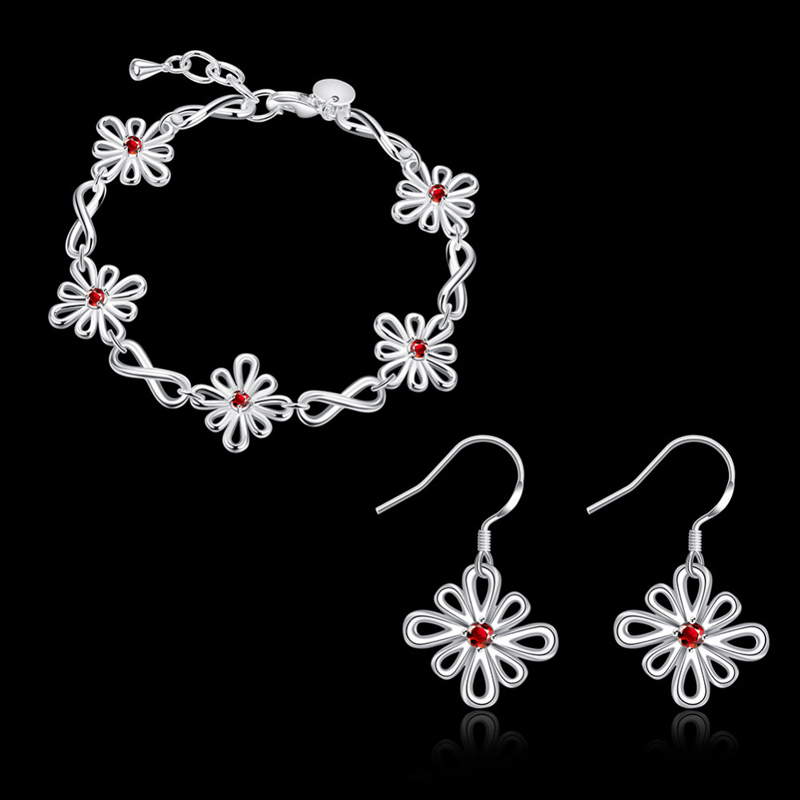 New Fashion Silver 925 Jewelry Sets Red Zircon Bracelets Gift Sets for Women CS834