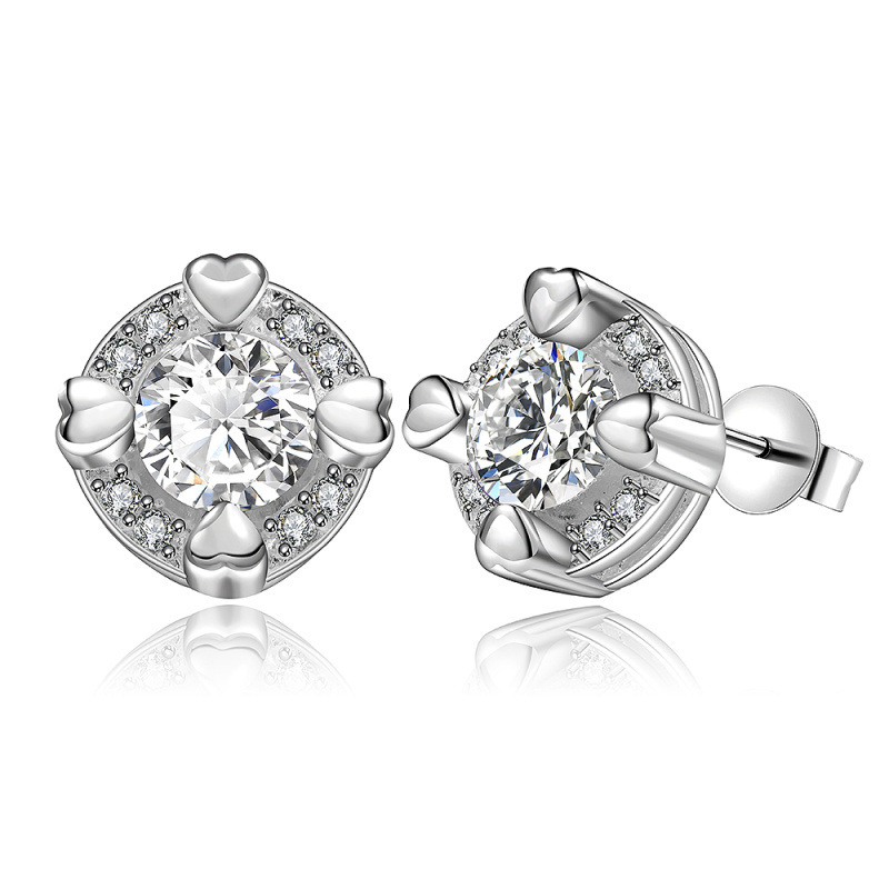 Fashion Jewelry 925 Sterling Silver Crystal Stud Earrings for Women E561