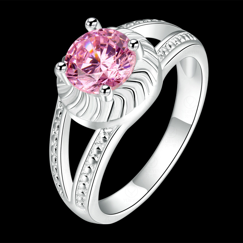 Romantic Jewelry Opal Rings Cubic Zircon & Pink Crystal Rings for Women CR730