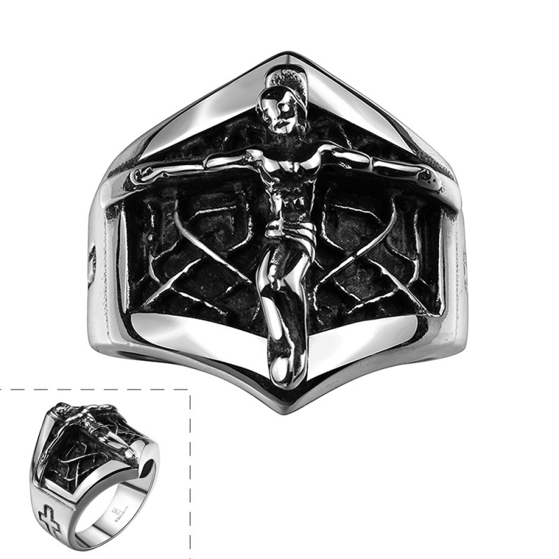Creative Jesus Cross Ring High Quality 316L Stainless Steel Cool Rings Men Fashion Jewelry R138