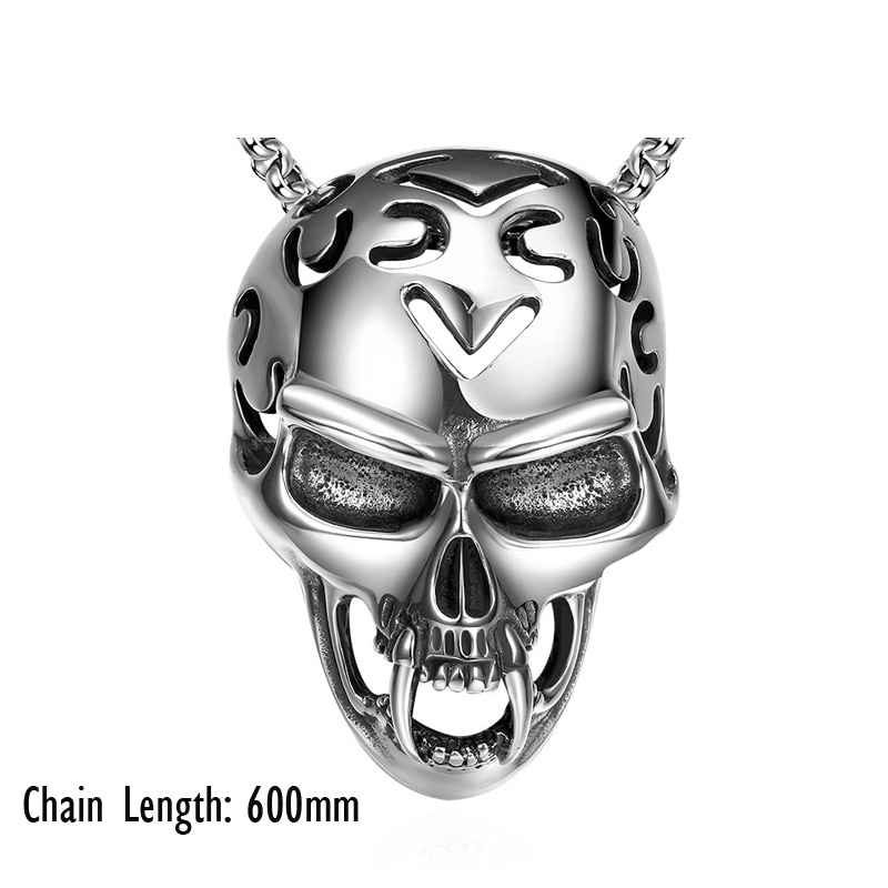 Fashion Jewelry Titanium 316L Stainless Steel Skull Pendants Necklaces for Men N023