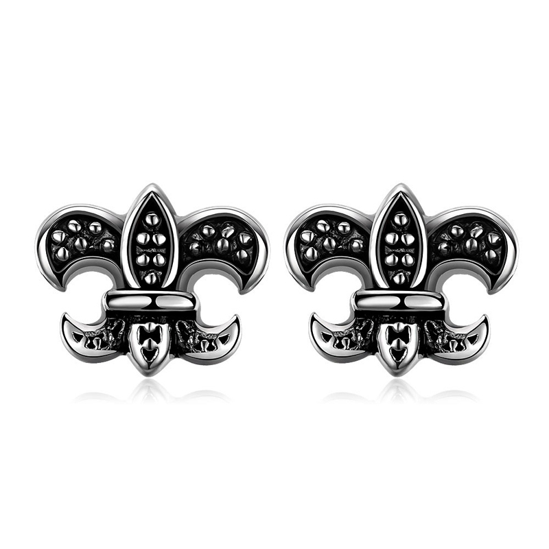 Top Quality Punk Jewelry Vintage Flower Stud Popular Earrings for Men E004