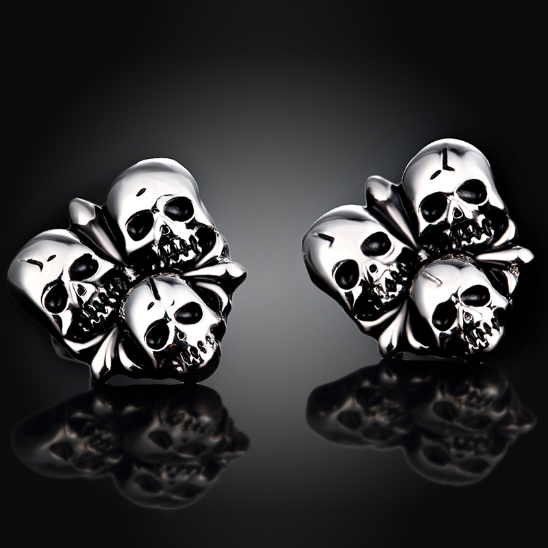 Hot Selling Skull Design Stud Earring Punk Style Titanium Jewelry Accessories For Women E003