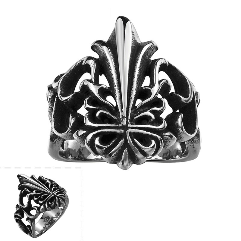 Crown Ring Punk Titanium Gift Men Dress Accessories The Ancient Maya Retro Personality Ring R132