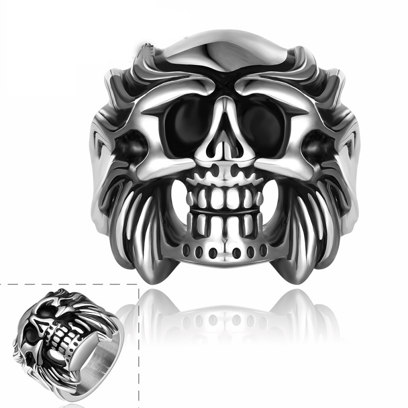 Hot Punk Round Party Rings High Quality 316L Stainless Steel Ancient Maya Bell Demond King Eduard Jewelry for Men R168