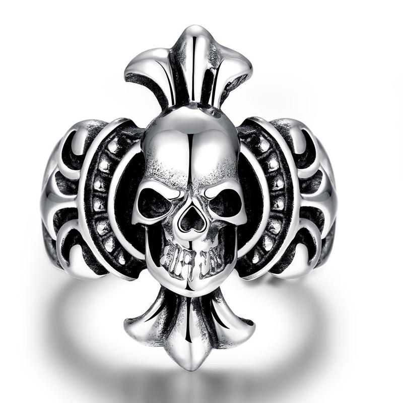 Fashion Jewelry 316L Stainless Steel Skeleton Rings for Men Vintage Cool Skull Ring R213