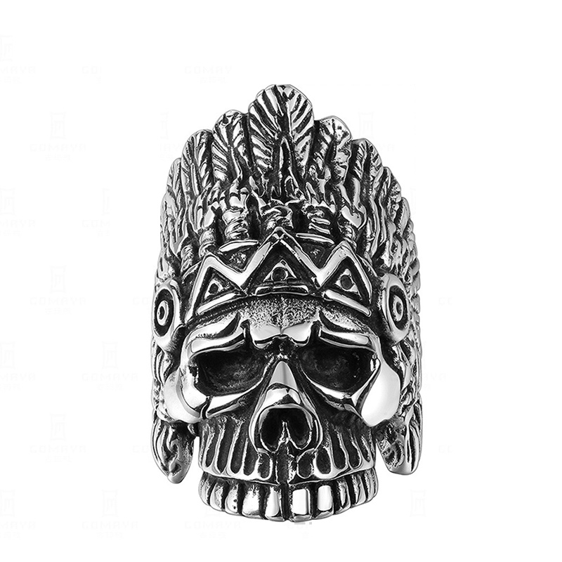 Cool Skull Ring Punk Stainless Steel Gift Ancient Mayan Mystery Chief Skull Titanium Ring for Men R149