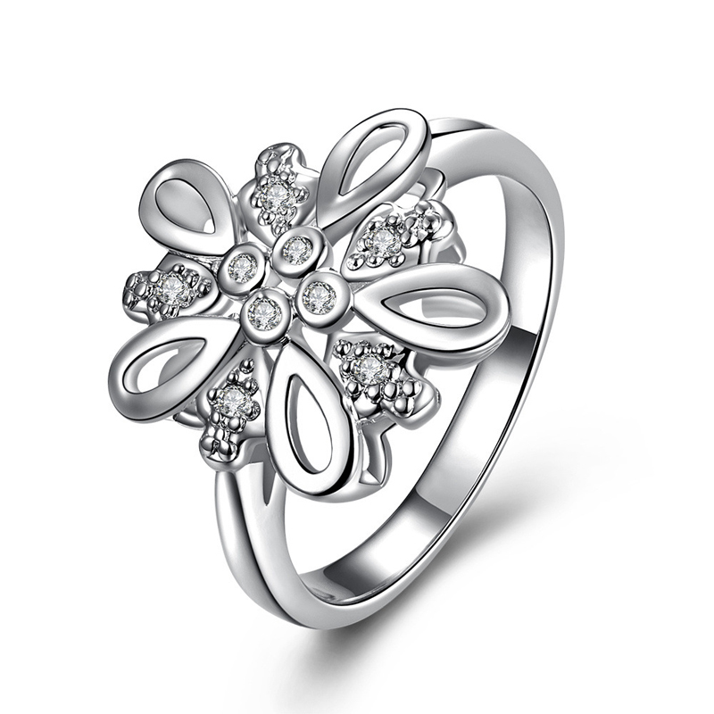 New Promotional Silver plated Fashion Classic Charm Crystal CZ Engagement Ring for Women SPR060