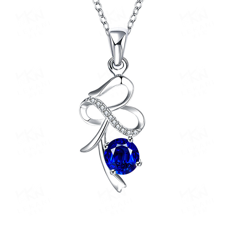 High Quality Silver-Plated Special Bowknot Inlaid Cubic Zirconia&Crystal Pendant Necklace Jewelry for Women SPN037