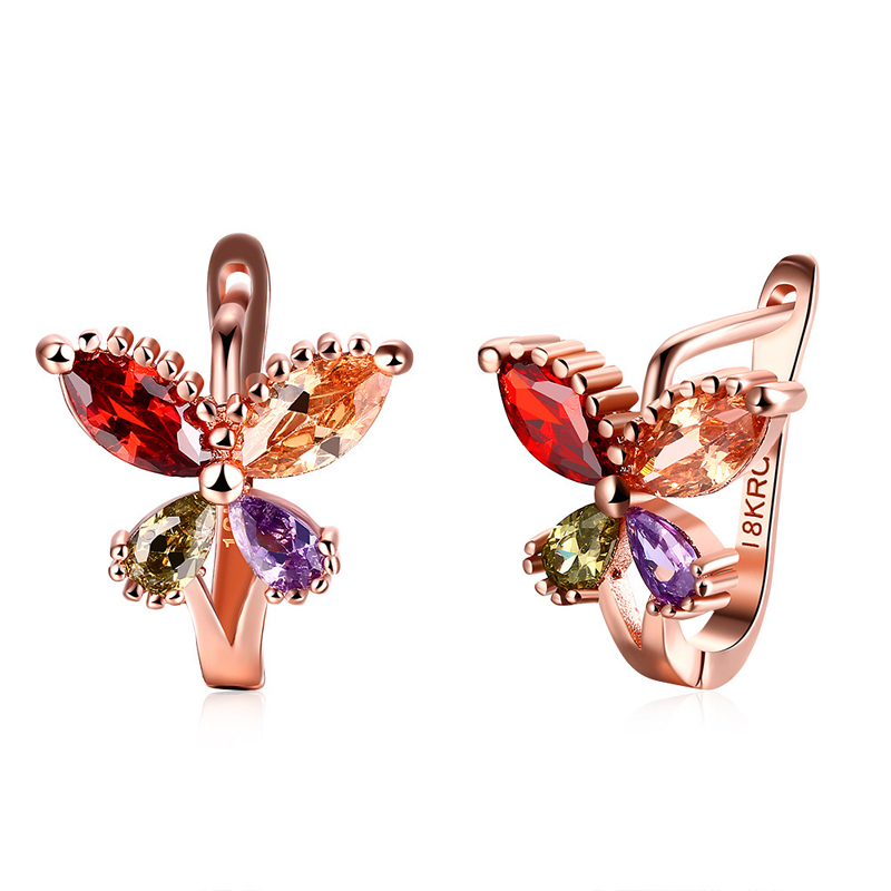 Elegant Earrings Rose Gold Plated Butterfly with Four Color Zirconia Clip Earrings for Women