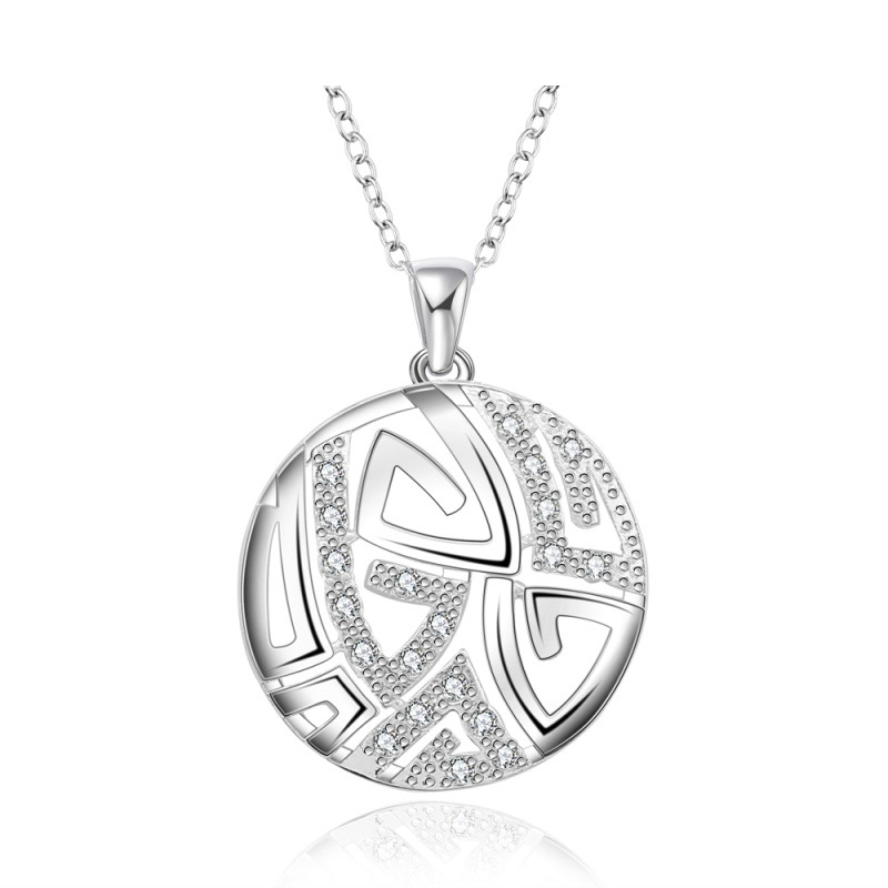 New arrivals Western Design Jewelry Round Pendant 925 Silver Necklace Fashion Style for Women