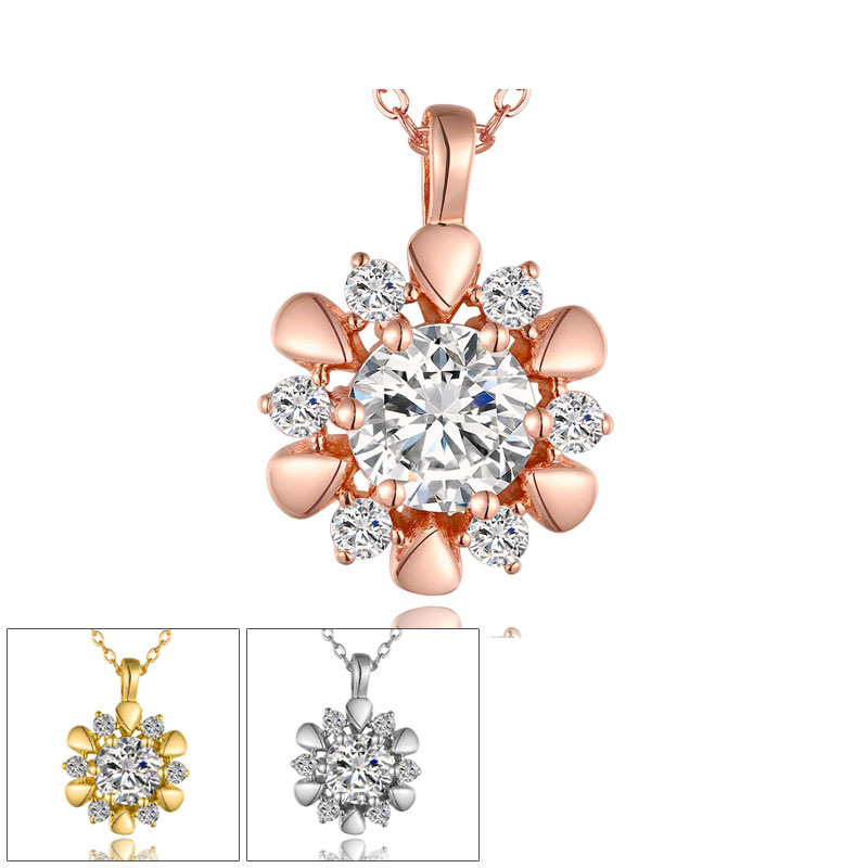 New Trendy Sunflower Inlaid Cubic Zirconia Pendant Yellow Gold/Rose/White Gold Plated Link Chain Necklaces Fashion Jewelry for