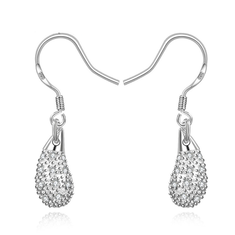 Hot Sale Teardrop Shape Silver Earrings Water Drop Dangle Earrings Silver Plated & Zirconia for Women