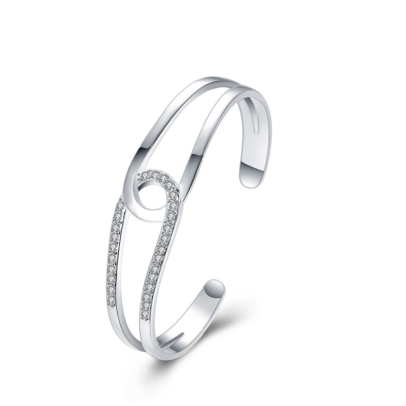 New Elegant Jewelry Sliver Plated Infinity Open End Simple Cuff Bangle Bracelet Dressing Accessories for Ladies
