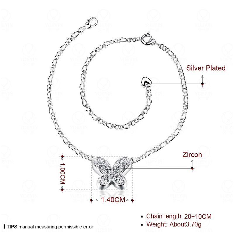 Butterfly Anklets Silver Plated Charm Anklets Rhinestone Foot Tornozeleira Beach Barefoot Sandals For Women